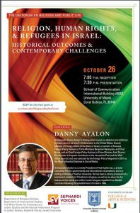 Danny Ayalon will be speaking at the University of Miami- October 26, 2016